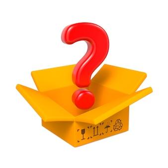 Kreskówka pudełko z czerwonym znakiem zapytania. na białym tle.