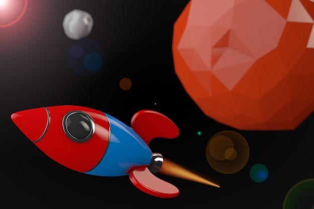 Kreskówka rakieta w pobliżu czerwonej planety w kosmosie. renderowanie 3d