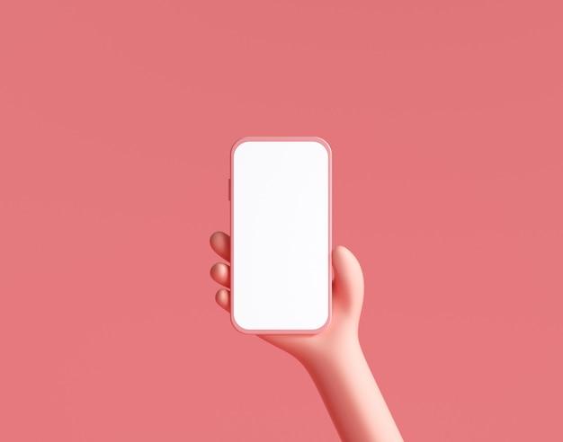 Kreskówka ręce trzymając smartfon