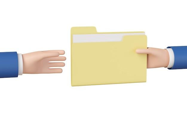 Kreskówka ręce, udostępnianie folderu z plikami na białym tle