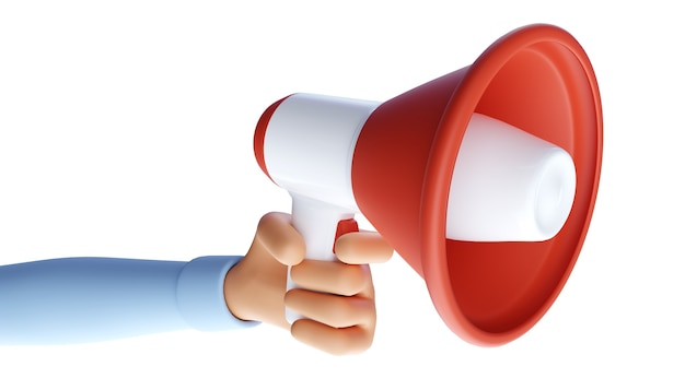 Kreskówka ręka trzyma megafon. symbol reklamy i promocji. ilustracja 3d