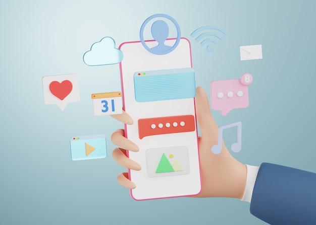 Kreskówka ręka trzyma smartphone z ikoną aplikacji mediów społecznościowych. renderowanie 3d