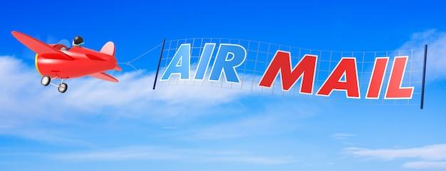 Kreskówka samoloty z banerem poczty lotniczej. renderowanie 3d