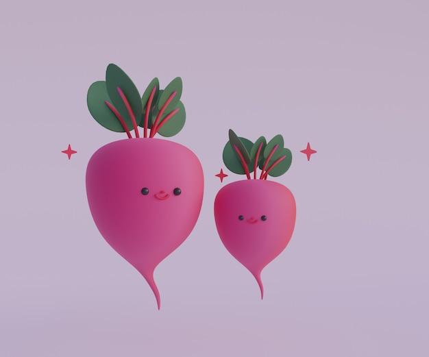 Kreskówka słodkie buraki 3d render ilustracji rzodkiewka z warzywami twarzy 3d