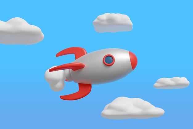 Kreskówka statek kosmiczny na niebieskim niebie.