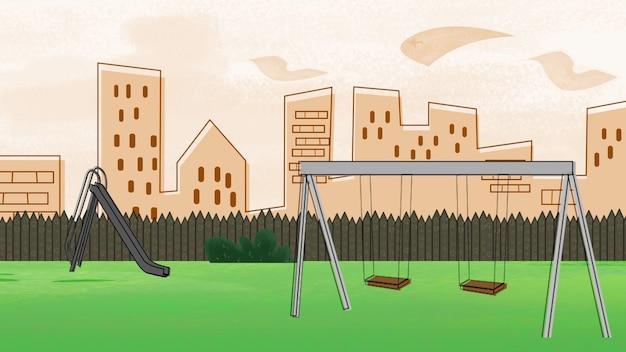 Kreskówka tło z budynkami i parkiem miasta, streszczenie tło. luksusowa i elegancka ilustracja 3d z motywem kreskówkowym lub dziecięcym