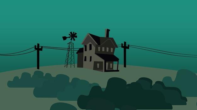 Kreskówka tło z domu na farmie, streszczenie tło. luksusowa i elegancka ilustracja 3d z motywem kreskówkowym lub dziecięcym
