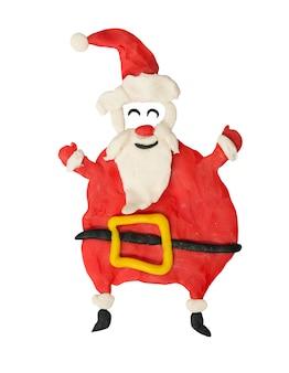 Kreskówka zabawa santa na białym tle. grafika dla dzieci.