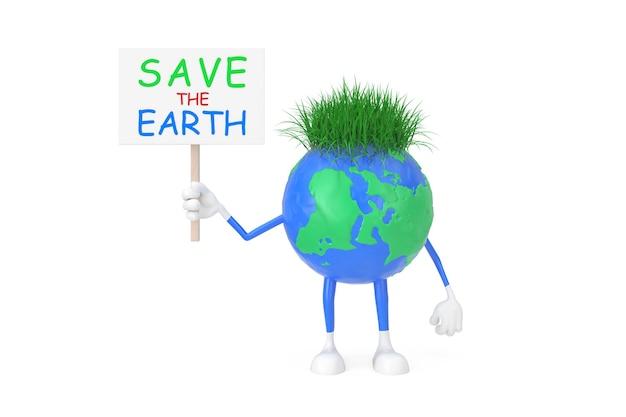 Kreskówka zabawka plastelina glina ziemia glob osoba charakter z save th transparent ziemi na białym tle. renderowanie 3d