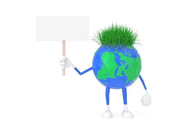 Kreskówka zabawka plastelina glina ziemia glob osoba postać z pusty biały pusty transparent z wolnego miejsca na swój projekt na białym tle. renderowanie 3d