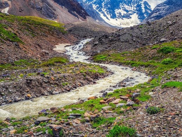 Kręta górska rzeka wśród skał i śniegu na jesiennym płaskowyżu na dużej wysokości. góry ałtaj.