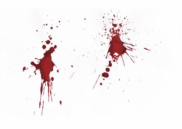 Krew splatters na białym tle