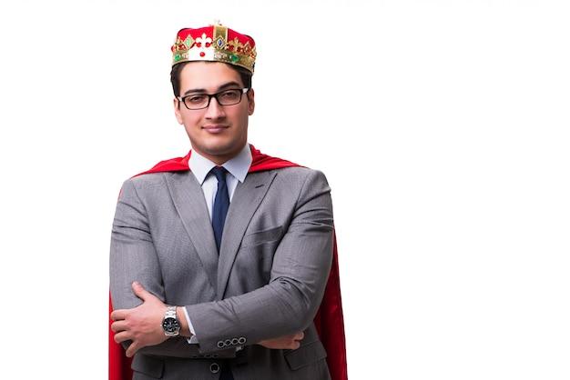 Król biznesmen na sobie czerwoną okładkę