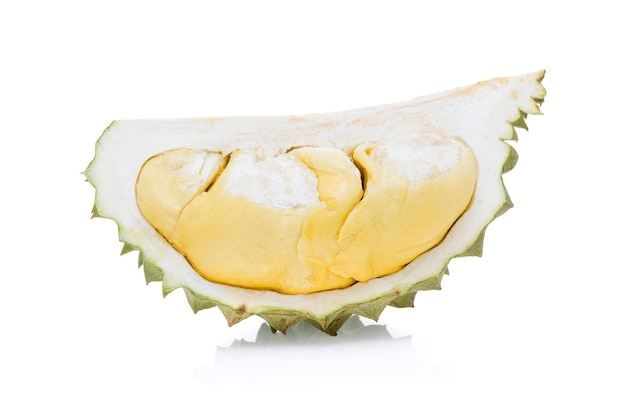 Król owoców, durian na białym tle.