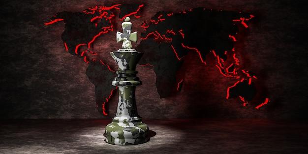 Król szachowy kamuflażu na tle mapy świata. pojęcie konfliktów militarnych i politycznych. ilustracja 3d.