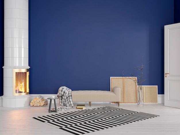 Królewski błękit w stylu skandynawskim, klasyczne wnętrze z kanapą, piecem, kominkiem, dywan. 3d render ilustracji makiety.