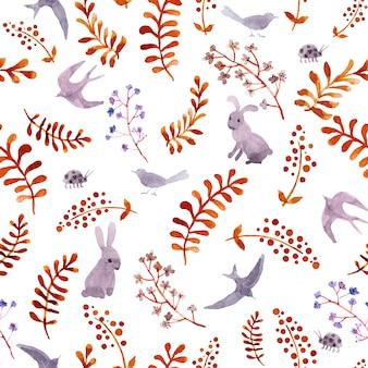 Króliki, ptaki, biedronki, jesienne liście. powtarzając ładny wzór ditsy. akwarela