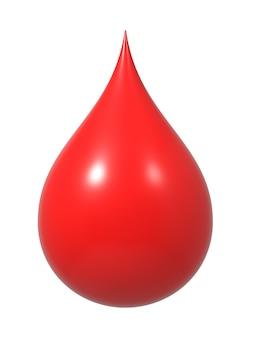 Kropla krwi na białym tle.
