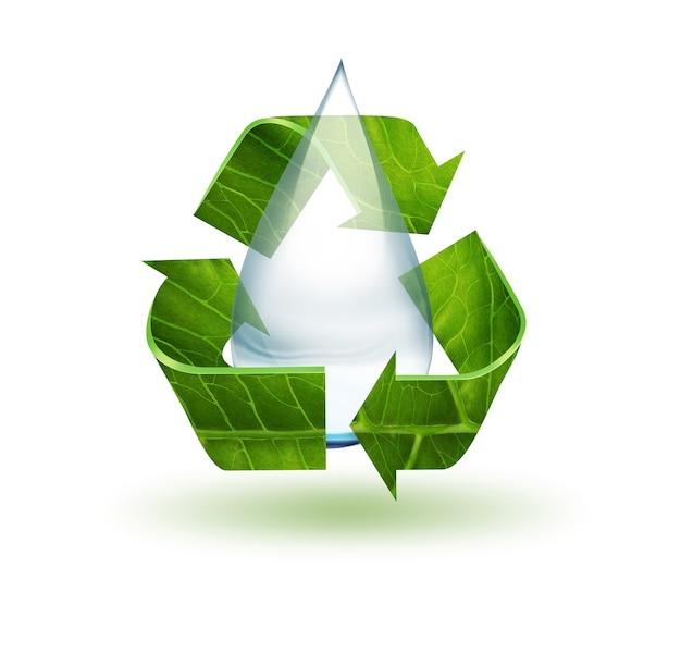 Kropla wody i symbol recyklingu na białym tle