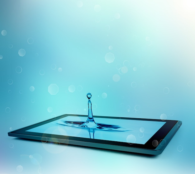 Kropla wody kapie na tablet