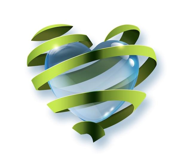Kropla wody w kształcie serca wewnątrz zielonej wstążki - symbol ochrony środowiska