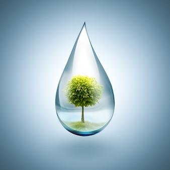 Kropla wody z drzewem w środku - koncepcja ochrony środowiska