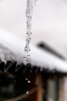 Kropla wody z lodu na zewnątrz bez słońca.