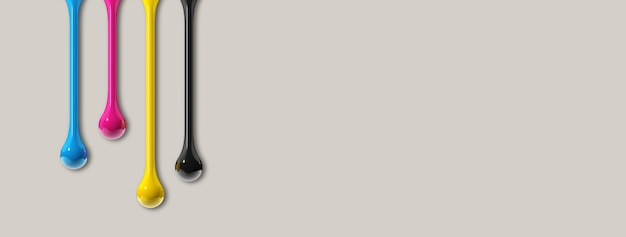 Krople atramentu 3d cmyk na białym tle na szarym tle papieru. baner poziomy. ilustracja