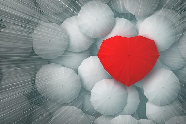 Krople deszczu spadają ze szczytu nieba na parasol w kształcie serca, górując nad innymi parasolami. ilustracja 3d