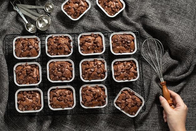 Krówka brownie słodki deser przyczyną tłuszczu, ale pyszne