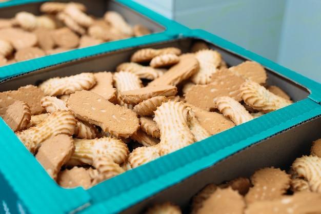 Kruche ciasteczka pakowane w pudełka.