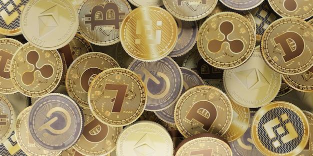 Kryptowaluta bitcoin cyfrowa waluta ilustracja 3d