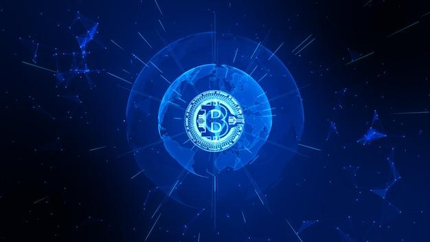 Kryptowaluta bitcoin w cyberprzestrzeni cyfrowej. wymiana pieniędzy w sieci technologicznej.