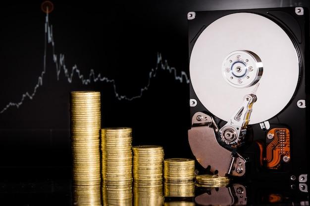 Kryptowaluta chia i serwer dysku twardego do kopania . nowa waluta crypto chiacoin koncepcja wirtualnego pieniądza na czarnym tle.