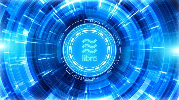 Kryptowaluta libra znak w tle cyfrowej cyberprzestrzeni