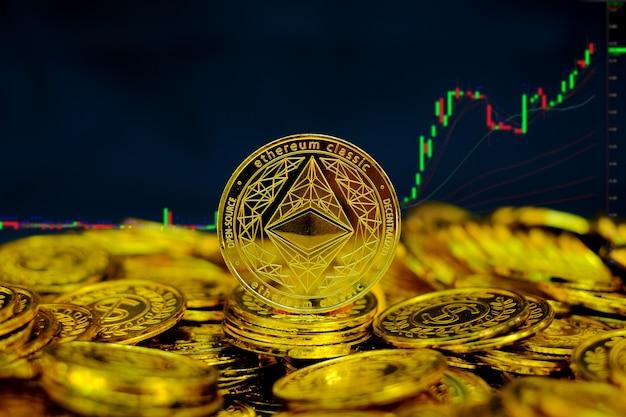 Kryptowaluta monety ethereum na stosie złotych monet na tle wykresu handlu komputerowego
