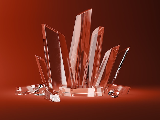Kryształowa podstawa i kryształowe sztyfty na czerwonej scenie. streszczenie tło dla akcesoriów lub biżuterii. renderowanie 3d