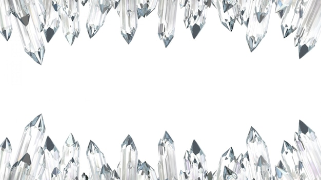 Kryształowa ramka na białym tle. ilustracja 3d.