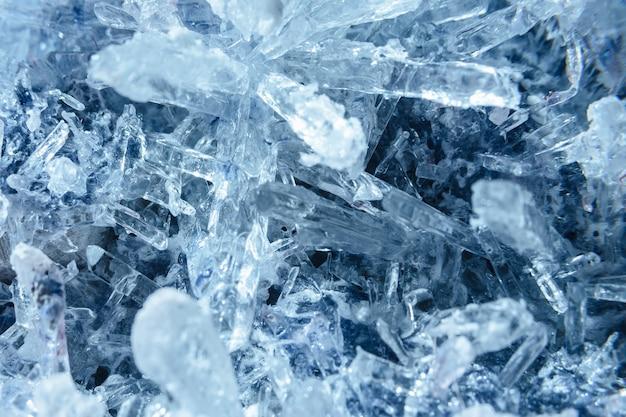 Kryształy z bliska. tekstura kryształu. zamarznięta woda