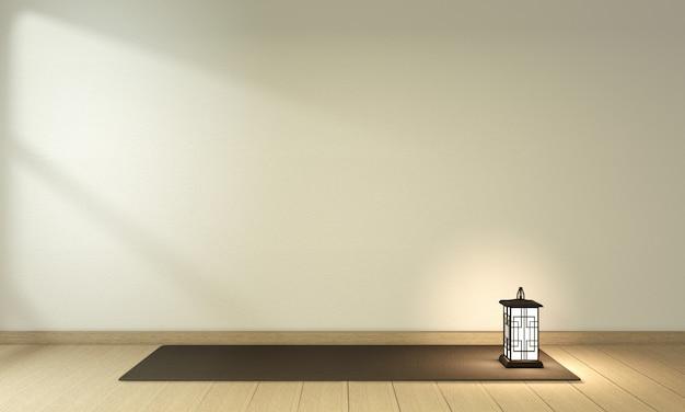 Kryty pusty pokój w stylu japonii. renderowanie 3d