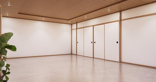 Kryty pusty pokój w stylu japońskim. renderowanie 3d
