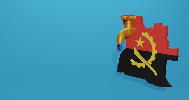 Kryzys wodny i pora sucha w angoli dla infografik i treści mediów społecznościowych w renderowaniu 3d