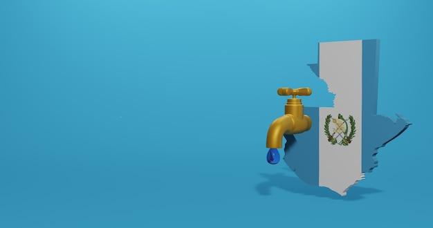 Kryzys wodny i pora sucha w gwatemali dla infografik i treści mediów społecznościowych w renderowaniu 3d