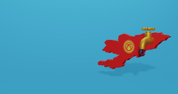 Kryzys wodny i pora sucha w kirgistanie dla infografiki w renderowaniu 3d