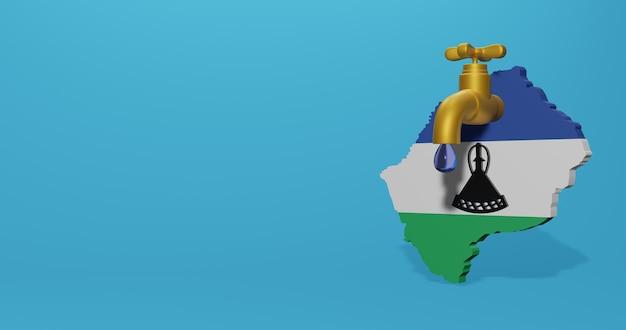 Kryzys wodny i pora sucha w lesotho na infografiki w renderowaniu 3d