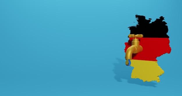 Kryzys wodny i pora sucha w niemczech dla infografik i treści z mediów społecznościowych w renderowaniu 3d