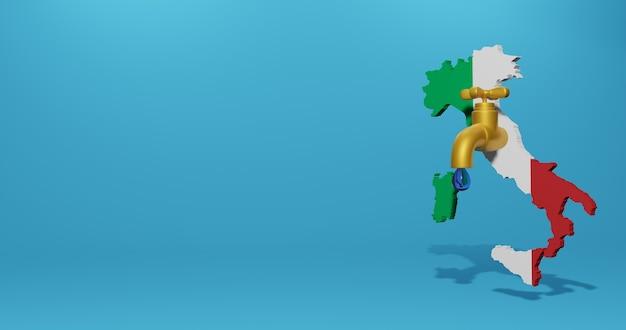 Kryzys wodny i pora sucha we włoszech dla infografik i treści z mediów społecznościowych w renderowaniu 3d