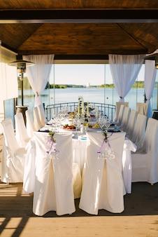 """Krzesła dla pary młodej w białych pokrowcach z napisem """"pan"""" i """"pani"""" na bankiecie weselnym nad wodą"""