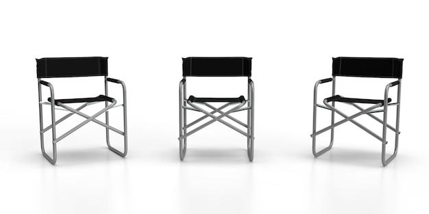 Krzesła reżyserskie render 3d trzech aluminiowych składanych krzeseł reżyserskich