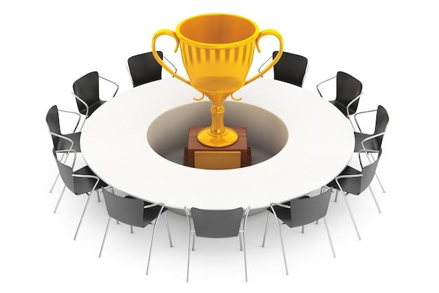 Krzesła wokół stołu ze złotym trofeum pośrodku na białym tle. renderowanie 3d